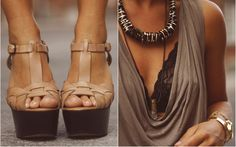 Shoes. Tan. Lace bra. Flowy brown shirt.