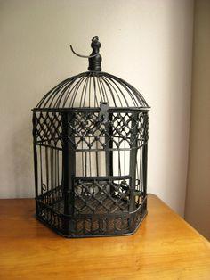 Vintage Bird Cage Black Wire Bird Cage by DewyMorningVintage