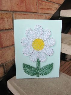 Daisy String Art by BlossomingBurlap Nail String Art, String Crafts, Rope Crafts, Crafts To Make, Arts And Crafts, Diy Crafts, Craft Projects, Projects To Try, String Art Patterns