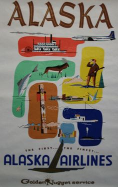 Alaska Airlines lithograph poster from the 1950s.