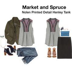 Nolen Printed Detail Henley Tank