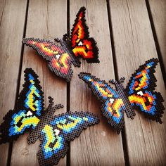 Butterflies hama perler beads by miag_stenungsund