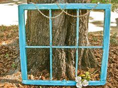 Vintage Rustic Window Teal Window