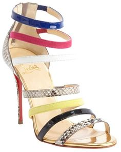 Christian Louboutin gold leather 'multi-color open toe sandals