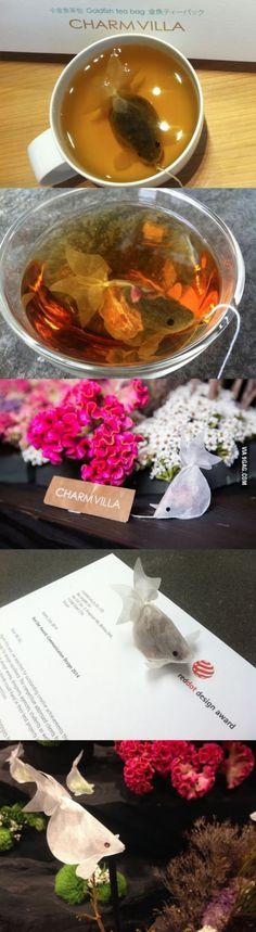 Tea bags that looks like goldfish.