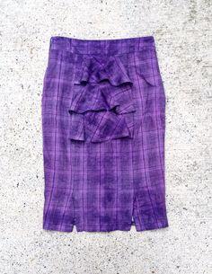 Ruffle Detail Purple & Black Check Dyed Pencil Skirt Size 8 Women #style #alternativefashion