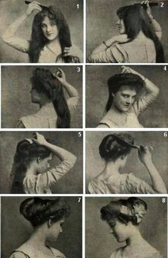 Vintage Edwardian hairdo tutorial. Not a gown, but I am impressed by their ability to do hair and what we call doing our hair these days.