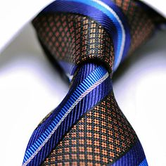 Silk Tie Navy Blue Black Orange Checkered