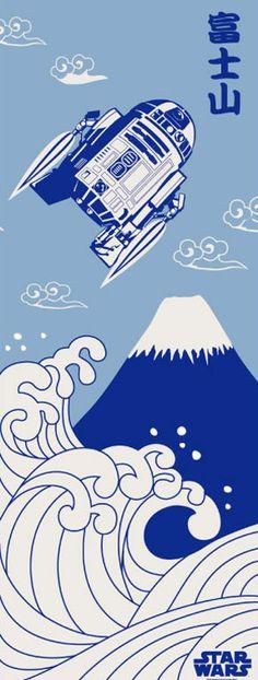 Strapya World : STAR WARS Japanese Towel, TENUGUI (Flying R2-D2 over FUJIYAMA)