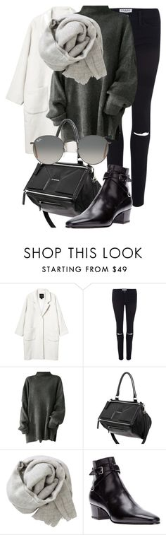 """""""Untitled #2252"""" by annielizjung ❤ liked on Polyvore featuring Monki, Frame Denim, Givenchy, Brunello Cucinelli, Yves Saint Laurent and Ray-Ban"""