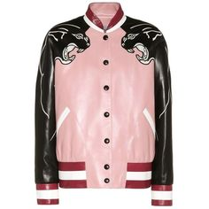 Valentino Embellished Leather Jacket ($8,490) ❤ liked on Polyvore featuring outerwear, jackets, bomber jackets, black, genuine leather jackets, blouson jacket, bomber style leather jacket, real leather jackets and flight jacket