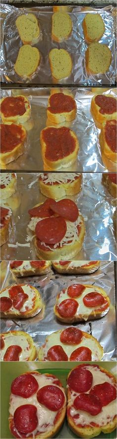 Texas Toast Garlic Bread Pizza Ingredients: 6 Slices Texas Toast Style Garlic Bread 6 TBS pizza Sauce 12 TBS Part Skim Shredded Mozzarella 18 Slices Turkey Pepperoni (optional) Instructions See fu. Texas Toast Garlic Bread, Garlic Bread Pizza, Pizza Recipes, Great Recipes, Cooking Recipes, Favorite Recipes, I Love Food, Good Food, Yummy Food