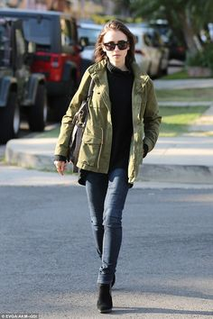 Casually cool:Lily Collins headed out in West Hollywood, California, on Tuesday afternoon in a stylish but easy to wear look