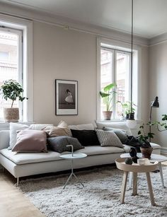 If you want a Scandinavian living room design, there are some things that you should consider and implement for this interior style. Wood as a material has an important role as well as light colors, because they give the living room an atmosphere of fresh Beige Living Rooms, Living Room Interior, Living Room Furniture, Living Room Decor, Interior Livingroom, Scandinavian Living, Scandinavian Design, Scandinavian Apartment, Living Room Remodel