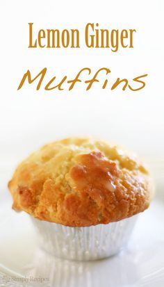 Lemon Ginger Muffins ~ Light and fluffly lemon ginger muffins, with fresh ginger and lemon zest, and a lemon juice sugar glaze. ~ SimplyRecipes.com