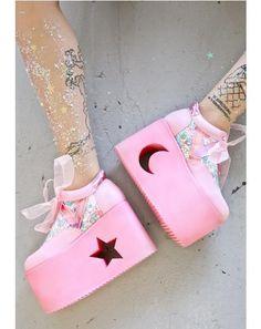 pastel pink platforms with cutout sun and moon blippo-kawaii:   Blippo.com  Kawaii Shop
