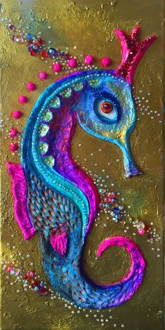 Mixed media seahorse, vertical canvas with glass pieces, rhinestones, wall sculpture, wall jewellry, modern abstract vertical painting