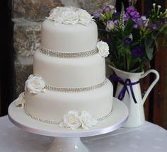 White Roses with Diamantes wedding cake