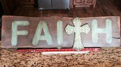 """Reclaimed barn-wood """"faith"""" sign with cross"""