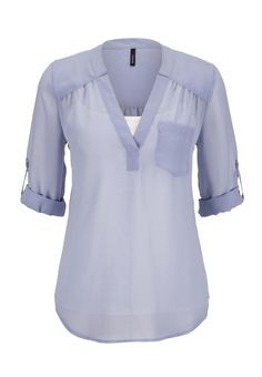 3/4 sleeve chiffon blouse with pocket
