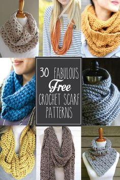 30+ Free Crochet Scarf Patterns - these are so great!: