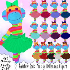 Rainbow Sock Monkey Ballerina Clipart, commercial use, sock monkey party, sock monkey decor, sock monkey nursery, sock monkey digital Baby Shower Clipart, Rainbow Socks, Nursery Decor, Clip Art, Kawaii, Ballet, Unique Jewelry, Handmade Gifts, Disney Princess