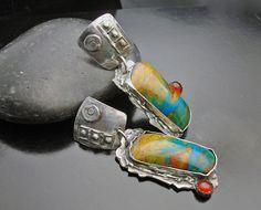 Earrings | Designs by Suzyn.  Sterling silver, opals, and carnelians.