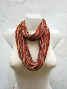 Finger Crochet Scarves   Crochet Scarf infinity Necklace Colorful Long winter by nurlu, $10.00