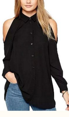 Cheap top quality t shirt, Buy Quality top brand t shirt directly from China top shirt Suppliers: Women off shoulder long shirts sexy chiffon tops turn down collar blouse long sleeve casual plus size Blusas Femininas Blouse Sexy, Black Chiffon Blouse, Chiffon Shirt, Long Blouse, Chiffon Tops, Collar Blouse, Chiffon Fabric, Chiffon Material, Black Blouse