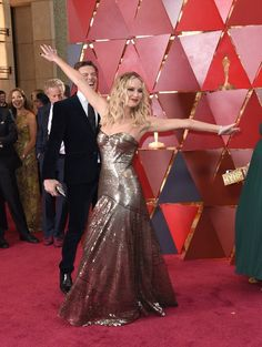 Jennifer Lawrence at the Academy Awards ceremony, Los Angeles March Red Carpet Dresses, Satin Dresses, Nice Dresses, Gowns, Elisabeth Moss, Allison Williams, Katniss Everdeen, Nicole Kidman, Gwyneth Paltrow