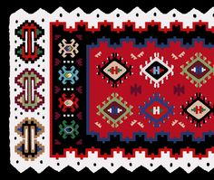 Great tutorial on how to make a kilim design.  || A possible final kilim design based on a traditional kilim - detail closeup