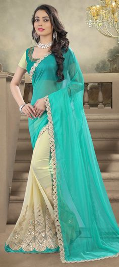 715104: Beige and Brown, Green color family Embroidered Sarees, Party Wear Sarees with matching unstitched blouse.