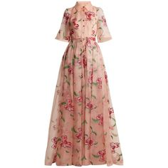 Carolina Herrera Floral-embroidered silk gown (172.750 CZK) ❤ liked on Polyvore featuring dresses, gowns, pink multi, silk evening gowns, evening gowns, floral gown, floral evening gown and embroidered evening dress
