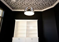 Wallpaper on ceiling, black walls, white built-ins, amazing light fixture White Built Ins, Beacon Lighting, Wall Lights, Ceiling Lights, Black Walls, Drum Shade, Light Fixtures, Living Spaces, Architectural Photography