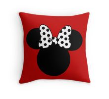 Minnie Mouse Ears with Black & White Spotty Bow Throw Pillow