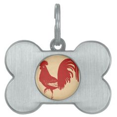 Red Rooster Pet Tags #Rooster #PetTag #Dog