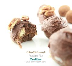 Chocolate Covered Pecan Pie Truffles This recipe is vegan, raw, no-bake, gluten free, dairy free and created with all-natural, whole ingredients.