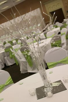 Centerpiece ~ Green & White Tablescape