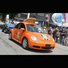 Orange Shock Top mohawk VW Bug  at the 2014 Johnstown, PA Thunder in the Valley (2015 dates are June 25 to 28)  **MORE Pictures at blog.lightningcustoms.com/thunder-in-the-valley-pictures/  #thunderinthevalley #johnstownthunderinthevalley #johnstownparally