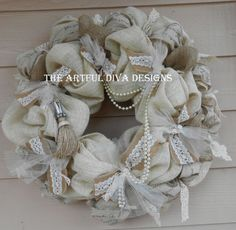 Burlap Lace and Pearls Wedding Wreath