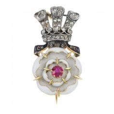 A late century Yorkshire Hussars gold and silver diamond and enamel regimental brooch. on Feb 2014 Modern Jewelry, Jewelry Art, Vintage Jewelry, British Crown Jewels, Mourning Jewelry, Rose Cut Diamond, White Enamel, Silver Diamonds, Bracelet Watch