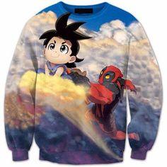 Flying Nimbus Cloud Kid Goku and Deadpool Funny 3D Sweatshirt