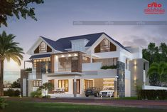 Best Home Designers in Kerala Bungalow Exterior, Bungalow House Design, Contemporary House Plans, Modern House Plans, Facade Design, Exterior Design, Flat Roof House, Independent House, Kerala House Design