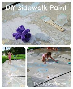 Homemade Sidewalk Chalk Paint Summer Kids Craft #kidscraft