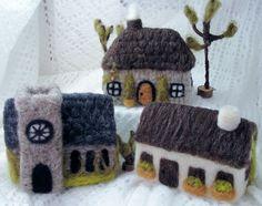Bella McBride: Medieval Village Needle Felted Set by McBride House Bunny Crafts, Cute Crafts, Felt Crafts, Needle Felted, Wet Felting, Medieval Crafts, Felt Christmas, Christmas Houses, Felt House