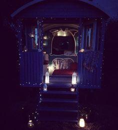 Fairy light magic, on a gypsy wagon.