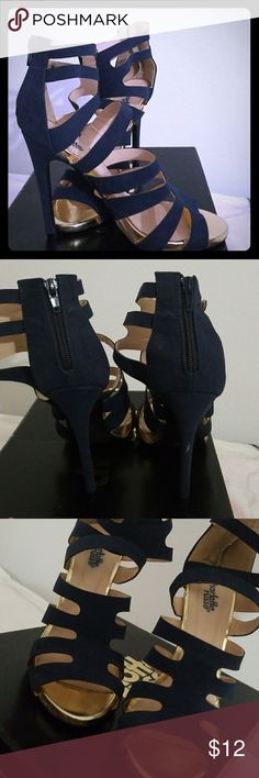 Charlotte Russe Blue and Gold Strappy Heels Blue heels with gold details and zipper in back. Worn twice. Has a minor scratch on heel. 5 inch  heel. Charlotte Russe Shoes Heels