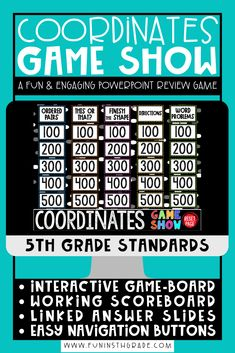 Fun and engaging coordinate plane PowerPoint game show is perfect to use for distance learning. 5th