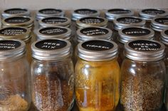 Spices in Mason Jars with Chalkboard paint