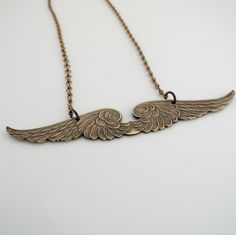 Vintage Necklace - Angel Wing Necklace - Angel Jewelry - Fantasy Jewelry - Chloes Vintage Jewelry - Vintage Brass jewelry - handmade jewelry by chloesvintagejewelry on Etsy https://www.etsy.com/listing/214203822/vintage-necklace-angel-wing-necklace